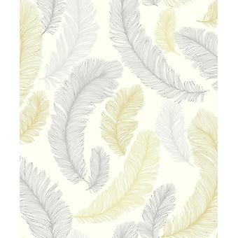 Reflect Feather Yellow  Wallpaper