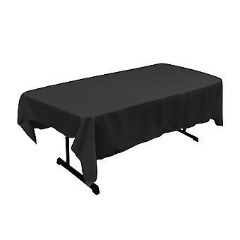 La Leinen Polyester Poplin 60 von 90-Zoll rechteckige Tischdecke, schwarz