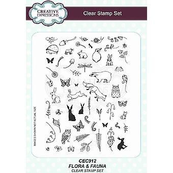 Creative Expressions Flora & Fauna A5 Clear Stamp Set