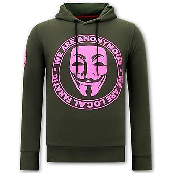 Hoodie  Print - We Are Anonymous - Groen