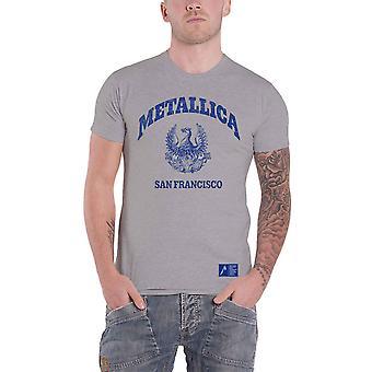 Metallica T Shirt College Crest Band Logo novo Official Mens Grey
