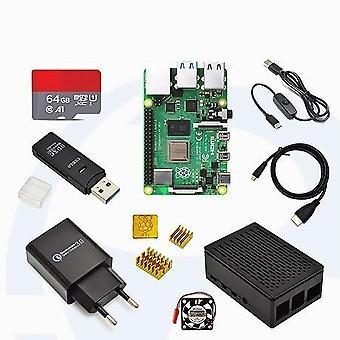 树莓派-4,型号B-热接收器,电源适配器,箱屏
