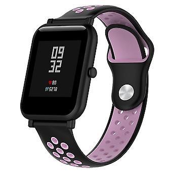 Dvojfarebný silikónový športový remienok na zápästie pre hodinky Huawei Radu 1 18mm (čierna ružová)