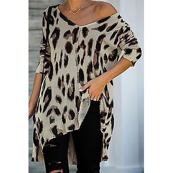 V Neck Leopard Slits Loose Knit Tunic Sweater