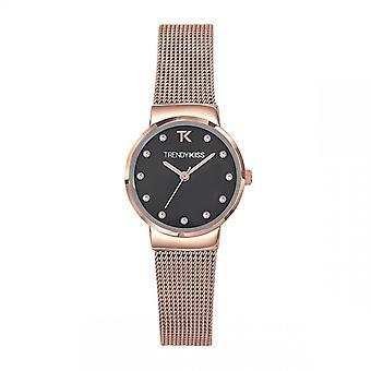 Trendy Kiss horloge TMRG10113-02-Kirsten Bo tier staal dor staal roze stalen armband staal roze zwarte wijzerplaat zwarte vrouwen
