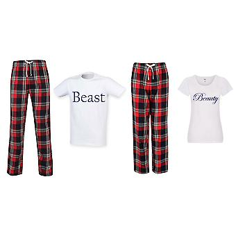 Kauneus ja peto Tartan Trouser Pyjama Parit Set