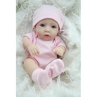 قطعة واحدة سترة مجموعة مع قبعة في الخوخ ل11 بوصة طفل حديث الولادة دمية