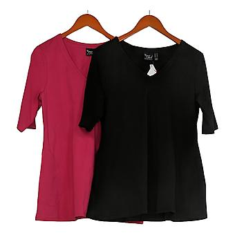 النساء مع المرأة التحكم & apos;ق أعلى جيرسي مجموعة من 2 V-الرقبة قمم الوردي A393299
