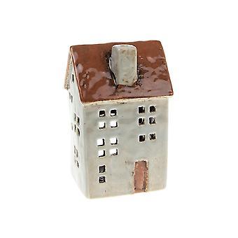 Joe Davies Village Pottery Town House Tealight Holder - Ljusgrå