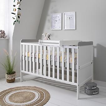 Tutti Bambini Rio Cot Bed with Mattress and Cot Top Changer - White Dove Grey
