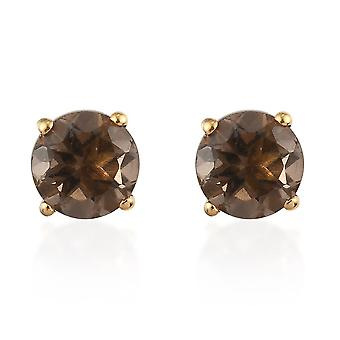 TJC Brown Quartz Stud Earrings in Gold Plated Silver Gift for Her 1.44ct