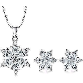 FengChun Silber Schneeflocke Schmuckset fr Damen, 925 Sterling Silber Schneeflocke Halskette Anhnger