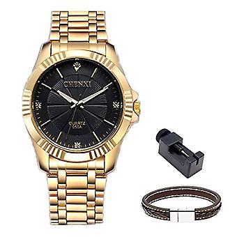 Chenxi Men's Fashion analog quartz steel and gold-wristwatch, color: black