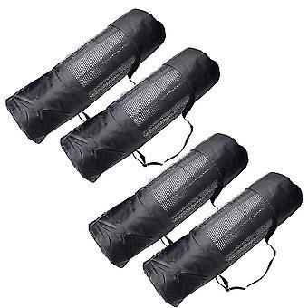 4pcs Yoga Mat Storage Bag Pad Carry Bag Mesh Pouch Large Capacity Long Sling Bag With Shoulder Strap For Mats - Size M