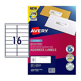 Avery Laser Label Qp L7162 16Up Pack Of 20