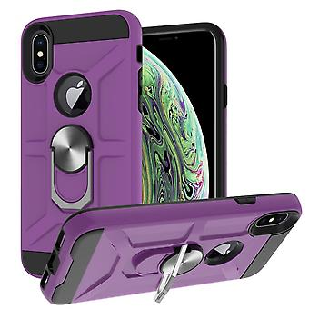 Case For Iphone Xs Max 6.5 Rotating Ring Kickstand Hockproof Impact Protection -violet