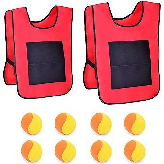 2 Zielwesten mit 8 Wattebällchen Wurfziel Spiel Wurfball Klettwesten Set (Rot)