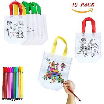 DIY Kinder Stoffbeutel Set, 10 stück Non-Woven-Tasche Zum Selber bemalen, DIY Graffiti Taschen Ideal