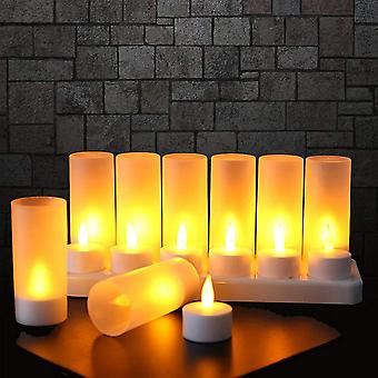 Set Of 12 Candle Led Rechargeable Candle Electric Led Flame Flickering With Charging Station Decoration