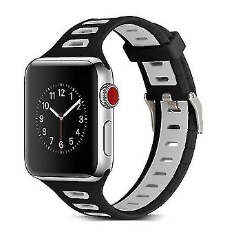 Two-tone T-shaped silicone watchband for Apple Watch series 3 & 2 & 1 38 mm Grey Black