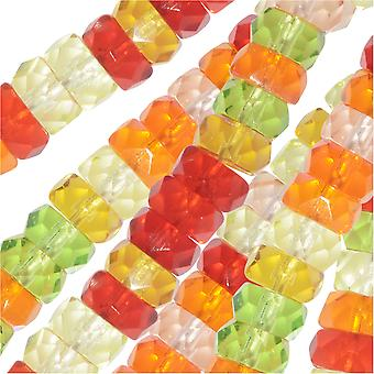 Czech Glass Beads, Faceted Rondelle 3x6mm, 60 Pieces, Tango Mix