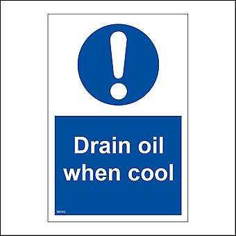 MA502 Drain Oil When Cool Sign with Circle Exclamation Mark