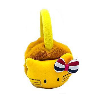 Gula öronmuffar katt