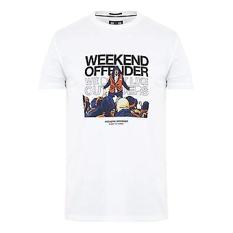 """Weekend Offender 2109 """"bovver"""" Grafiskt tryck Halvärmad T-shirt - Vit"""