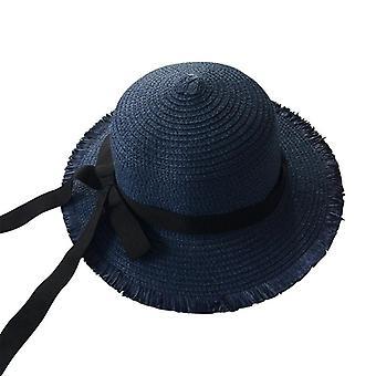 Tytöt kesä lippis musta nauha koristella olkihattu Panama hattu