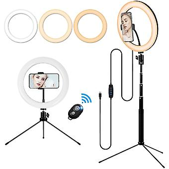 10'' Makeup Ring Light with Tripod Stand and Phone Holder, Portable Desktop Floor LED Circle Lamp