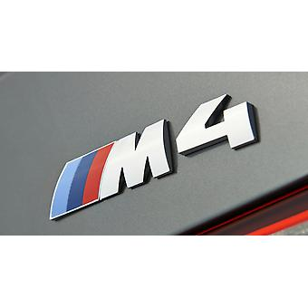 Chrome BMW M4 Letters Rear Boot Lid Trunk Badge Emblem For F32 115mm x 25mm