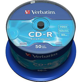 Verbatim CD-R 52 x 700 MB, 80 min,/, 50-pack spindle, Extra protetcion