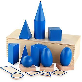 Große 3D-Formen Holz Montessori Geometrie Set Spielzeug Mathematik Spiele Bausteine