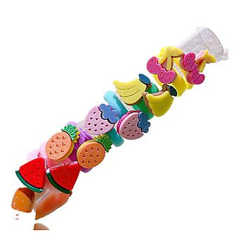 4SET Mädchen Cartoon Haare Scrunchies Bunte kleine elastische Haarbänder Kinder Pferdeschwanzhalter Gummi