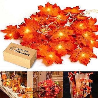 Kaksiosainen vaahteranlehtivalo Led Holiday Light Maple Leaf String Vaaleanvalkoinen Sisä-Led String Light 2m20 Valo