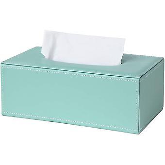 Rectangular Pu Leather Tissue Box Holder, Facial Tissue Case Napkin Dispenser For Home Office Car Automotive Decoration(mint-green)