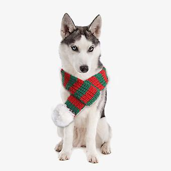 Pet Cat Dog Christmas Costume Scarfwhite And Green S