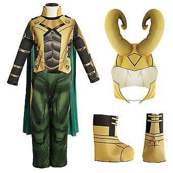 Enfants Garçons Thor Ragnarok Loki Cosplay Costume Tenue Cape Casque Chaussures