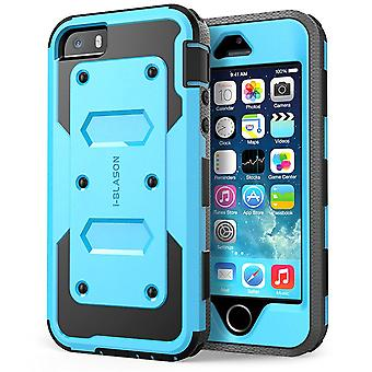 i-Blason-Apple iPhone 5S caso-Armorbox Dual Layer fondina custodia - blu