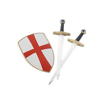 Crusader rycerz zestaw z dwoma mieczami i Tarcza 50 cm