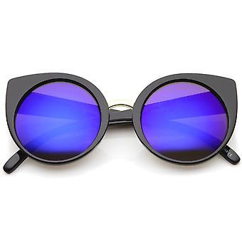 Moda feminina redonda iridescente espelho lente Cat Eye Sunglasses 55mm