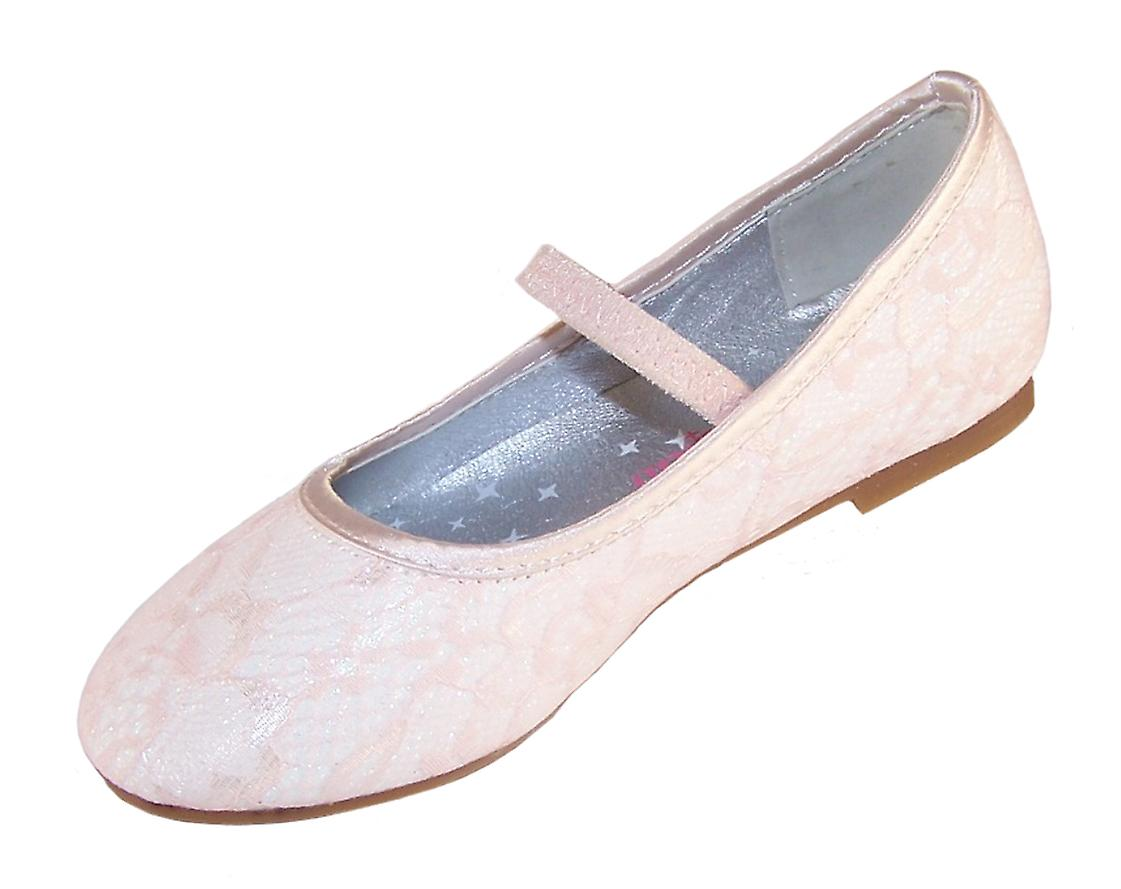 Girls sparkly ivory occasion shoes with a delicate peach net overlay