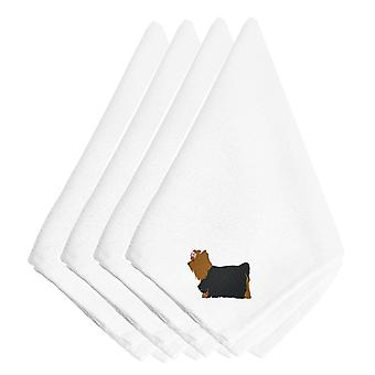 Yorkshire Terrier Yorkie Embroidered Napkins Set of 4