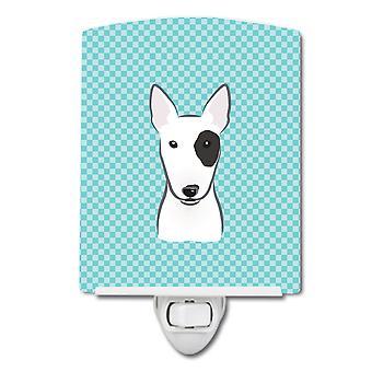 Checkerboard Blue Bull Terrier Ceramic Night Light