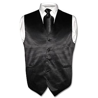 Men's Dress Vest & NeckTie Woven Neck Tie Horizontal Striped Design Set