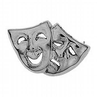 Zilver 22x33mm komedie en tragedie Broche
