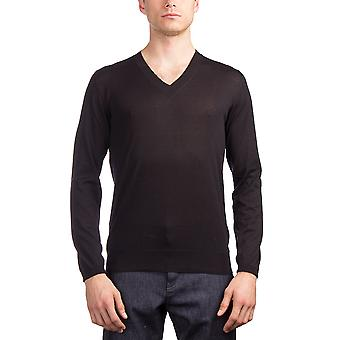 Prada Men's Silk Cotton V-Neck Sweater Black