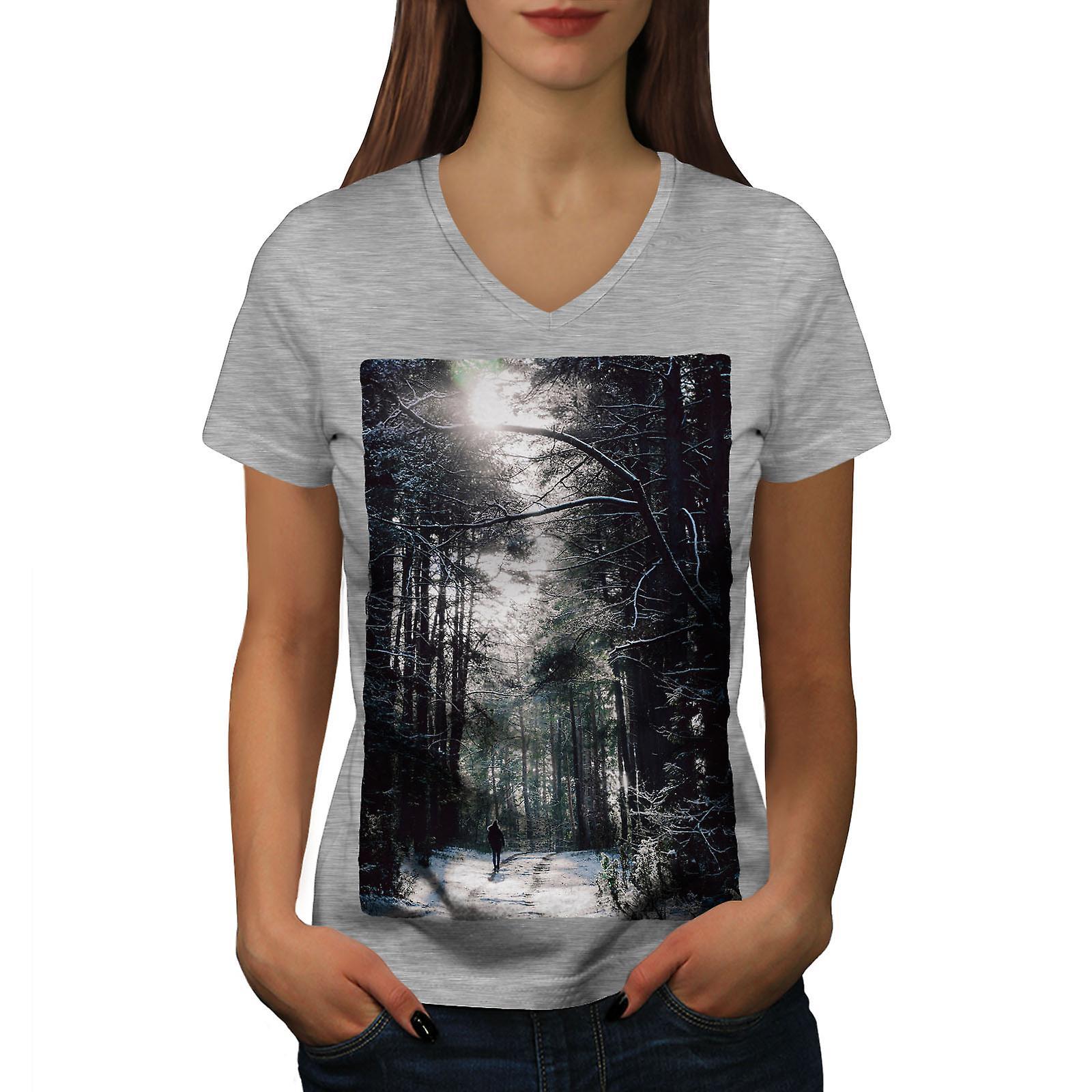 La forêt sauvage hiver femmes GreyV-Neck T-shirt | Wellcoda