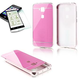 Aluminium bumper 2 piece pink + 0.3 mm H9 tempered glass for Huawei G8 5.5 inch