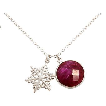Gemshine halskjede anheng SCHNEEFLOCKE 925 sølv Ruby Rød 45 cm